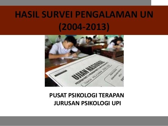 Hasil Survei Pengalaman UN 2004 - 2013, P2T Psikologi UPI
