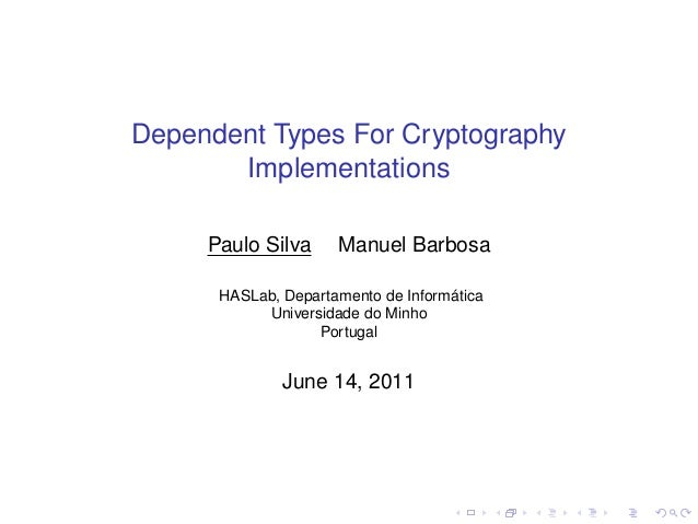 Dependent Types for Cryptography Implementations