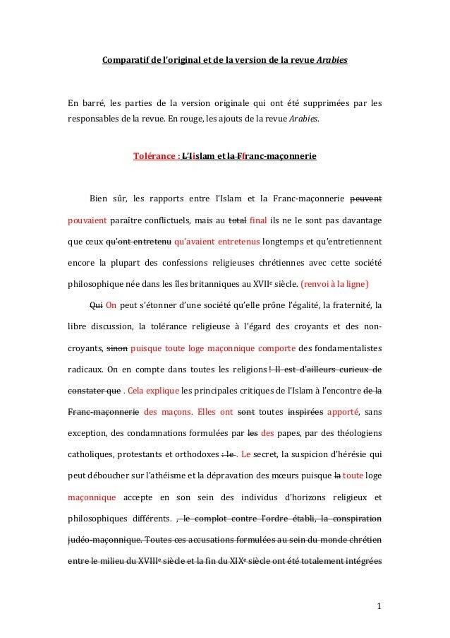 Comparatifdel'originaletdelaversiondelarevueArabies  En barré, les parties de la version originale qui...