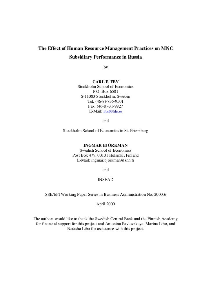The Effect of Human Resource Management Practices on MNC                    Subsidiary Performance in Russia              ...