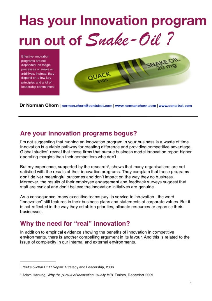 """Has your Innovation program           Part of the """"Living Organisation"""" srun out of Snake-Oil ?Effective innovationprogra..."""
