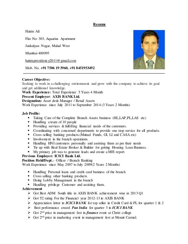 hatim bank resume