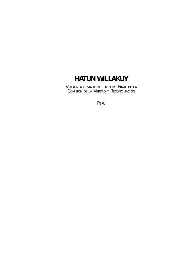 Informe de la CVR: Hatun Willakuy versión abreviada de la CVR