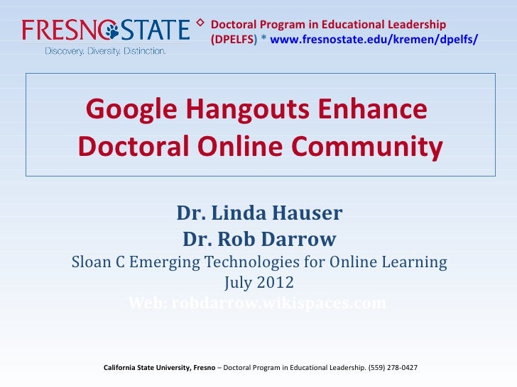 Google Hangouts Enhance Online Doctoral Community