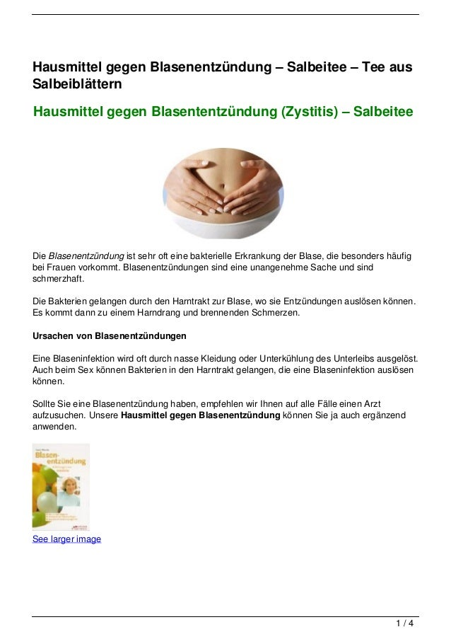 Hausmittel gegen Blasenentzündung – Salbeitee – Tee ausSalbeiblätternHausmittel gegen Blasententzündung (Zystitis) – Salbe...