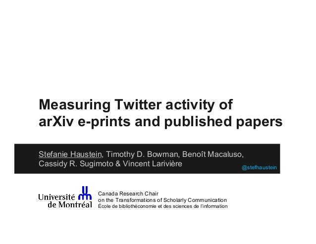 Measuring Twitter activity of arXiv e-prints and published papers Stefanie Haustein, Timothy D. Bowman, Benoît Macaluso, C...
