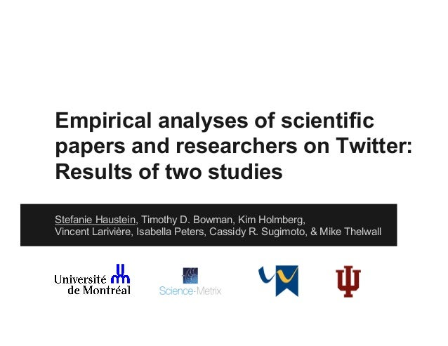 Empirical analyses of scientific papers and researchers on Twitter: Results of two studies Stefanie Haustein, Timothy D. B...
