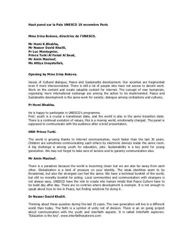 Haut panel sur la paix unesco nov 2012