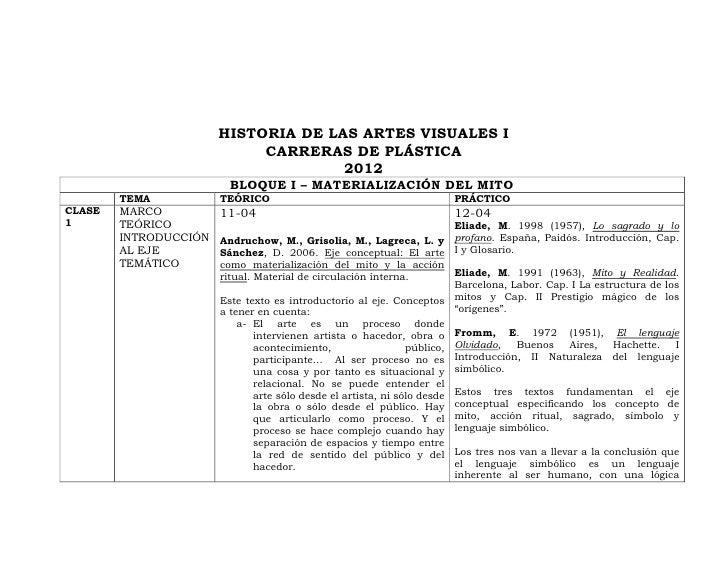 HISTORIA DE LAS ARTES VISUALES I                            CARRERAS DE PLÁSTICA                                     2012 ...