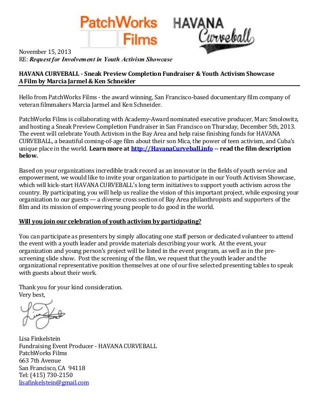 November 15, 2013 RE: Request for Involvement in Youth Activism Showcase HAVANA CURVEBALL - Sneak Preview Completion Fundr...