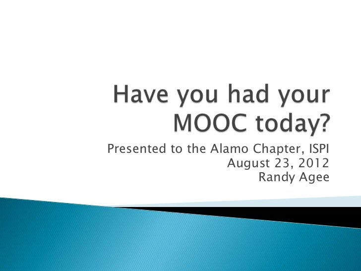 Have you had your MOOC today?
