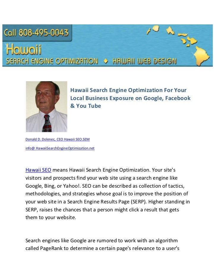 Hawaii Search Engine Optimization For Your Local Business Exposure on Google, Facebook & You Tube