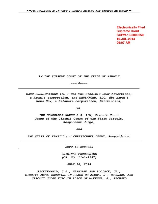 ***FOR PUBLICATION IN WEST'S HAWAIʻI REPORTS AND PACIFIC REPORTER*** IN THE SUPREME COURT OF THE STATE OF HAWAIʻI ---o0o--...