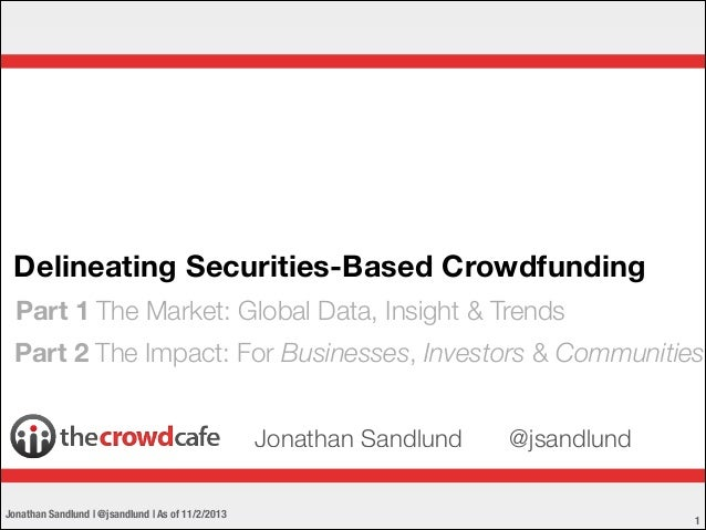 Delineating Securities-Based Crowdfunding Part 1 The Market: Global Data, Insight & Trends Part 2 The Impact: For Business...