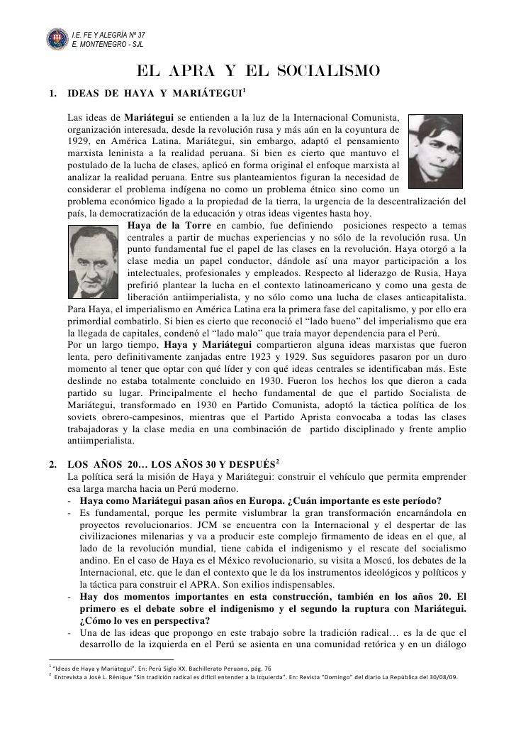 EL  APRA  Y  EL  SOCIALISMO<br />IDEAS  DE  HAYA  Y  MARIÁTEGUI<br />526986556515Las ideas de Mariátegui se entienden a la...
