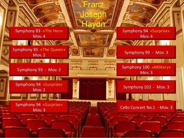Symphony 83 «The Hen»Mov. 4Symphony 85 «The Queen»Mov. 2Symphony 93 - Mov. 2Symphony 94 «Surprise»Mov. 2Symphony 94 «Surpr...