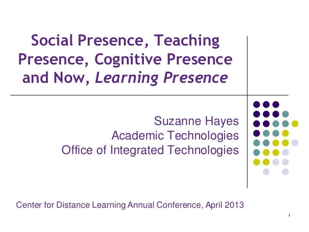 Social Presence, TeachingPresence, Cognitive Presenceand Now, Learning PresenceSuzanne HayesAcademic TechnologiesOffice of...