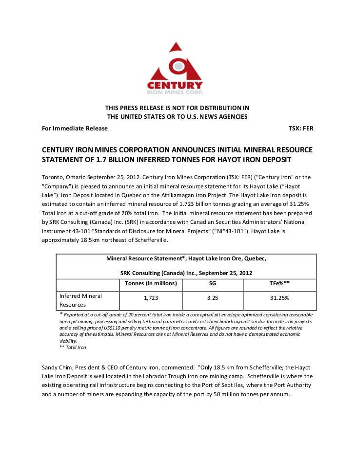 Century Iron Mines Corporation Announces Initial Mineral Resource Statement of 1.7 Billion Inferred Tonnes for Hayot Iron Deposit