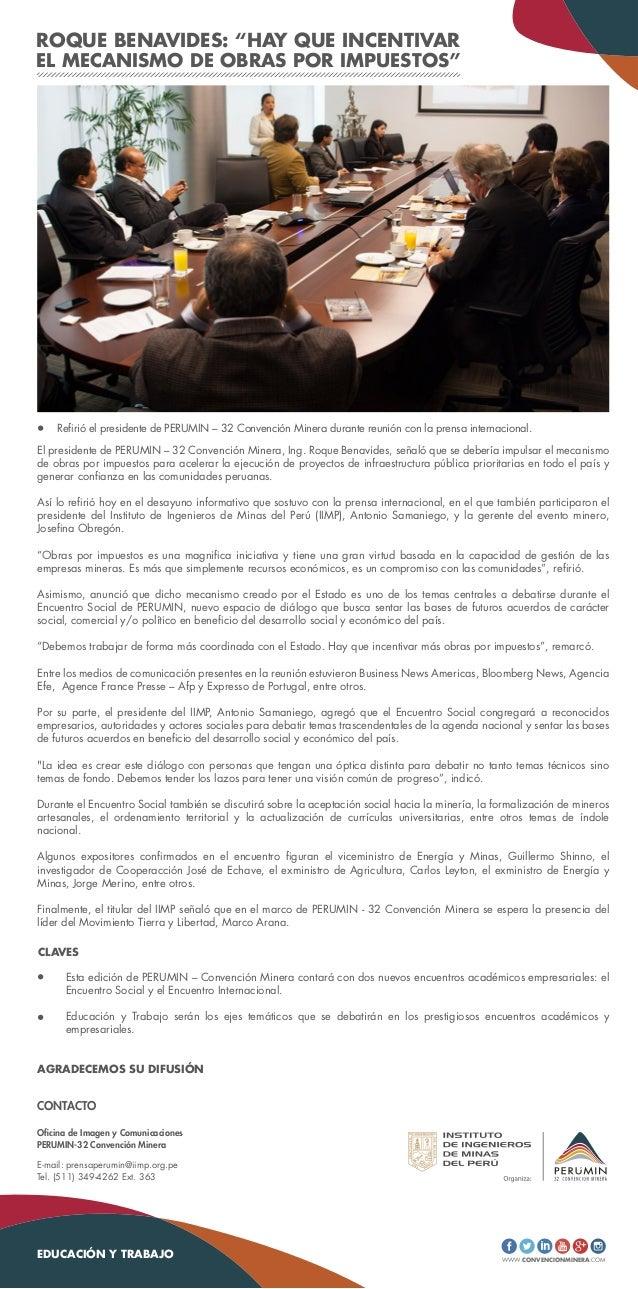 """ROQUE BENAVIDES: """"HAY QUE INCENTIVAR EL MECANISMO DE OBRAS POR IMPUESTOS"""" El presidente de PERUMIN – 32 Convención Minera,..."""