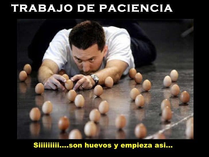 TRABAJO DE PACIENCIA Siiiiiiiii....son huevos y empieza asi...