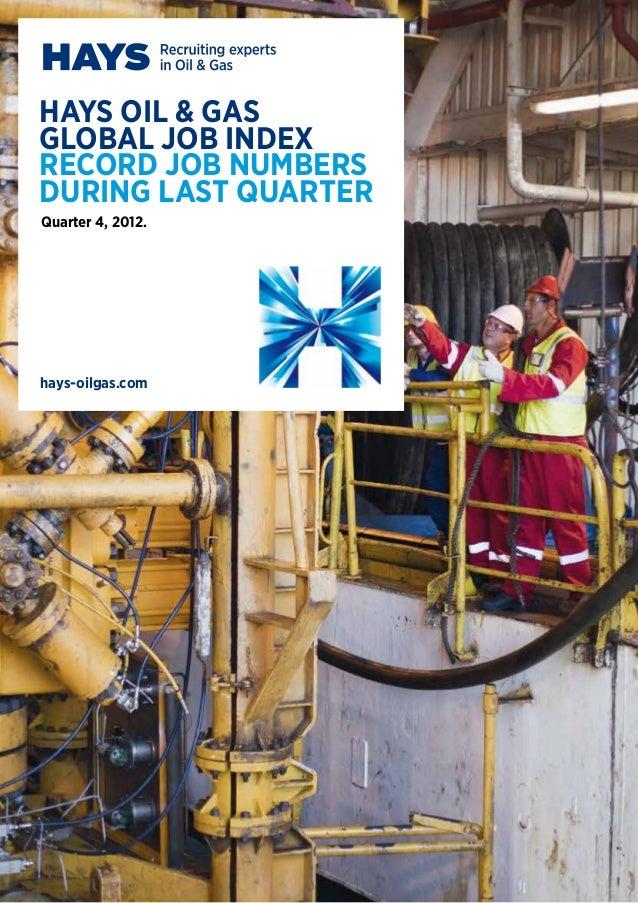 hays oil & gasglobal Job Indexrecord job NUMBERSDURING last quarterhays-oilgas.comQuarter 4, 2012.