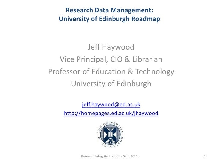 Jeff Haywood - Research Integrity: Institutional Responsibility