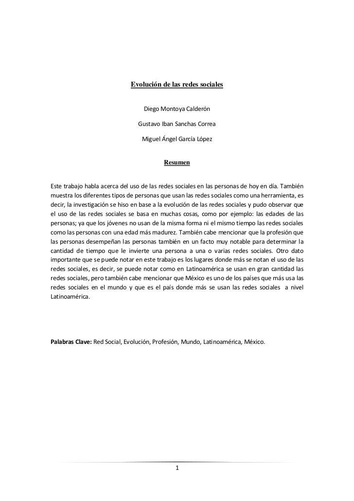 Evolución de las redes sociales                                   Diego Montoya Calderón                                 G...
