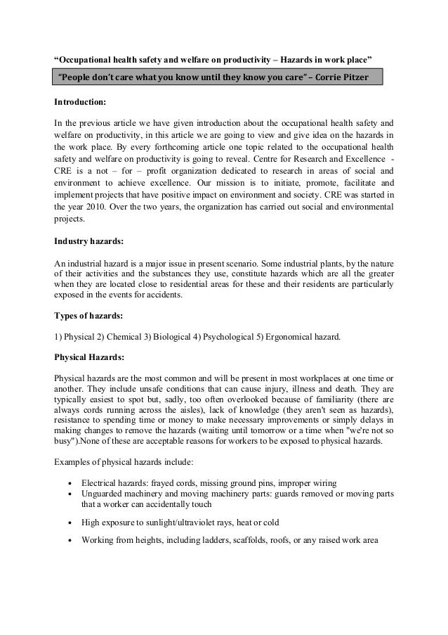 potential hazards in health and social Unit 3 p3, m2& d1- risks &hazards in a health and social care setting essay of 5 pages for the course btec health and social care level 3 at newham college london.