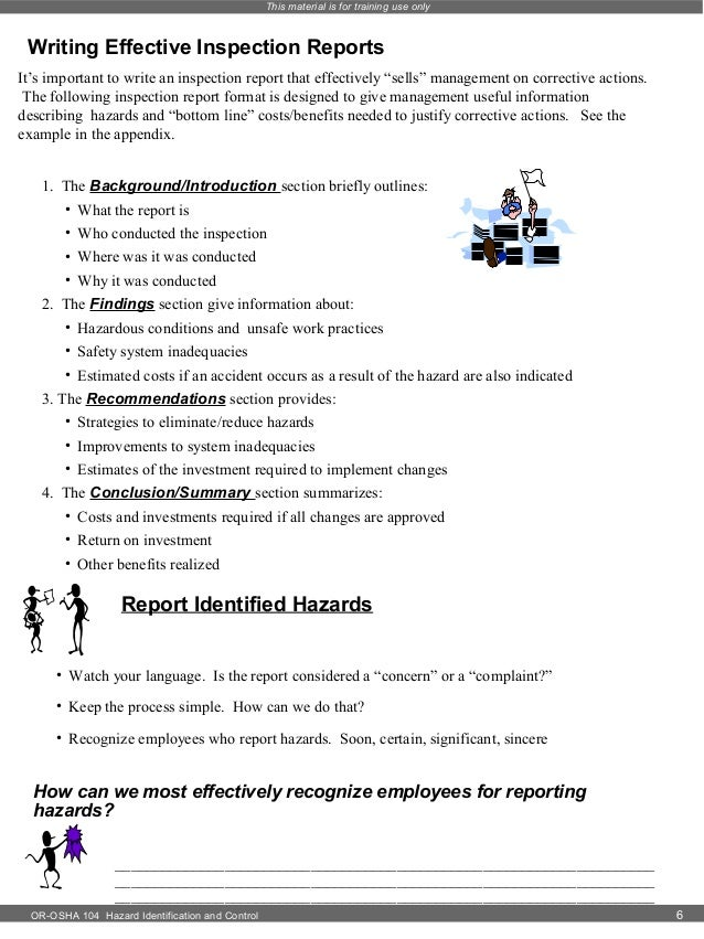 Inspection Report Writing Write an Inspection Report
