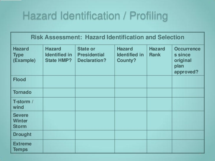 hazard identification and risk assesment essay