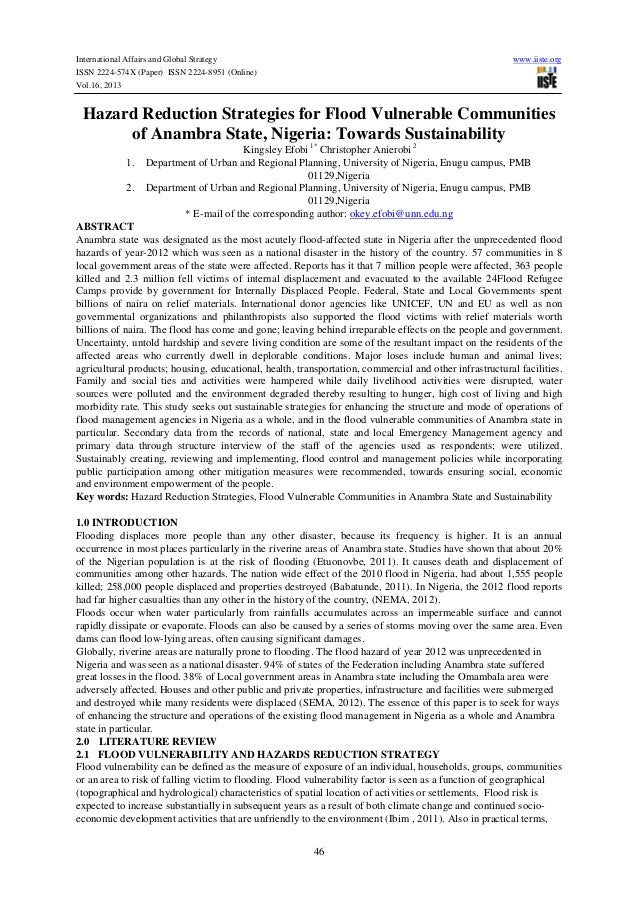 International Affairs and Global Strategy ISSN 2224-574X (Paper) ISSN 2224-8951 (Online) Vol.16, 2013  www.iiste.org  Haza...