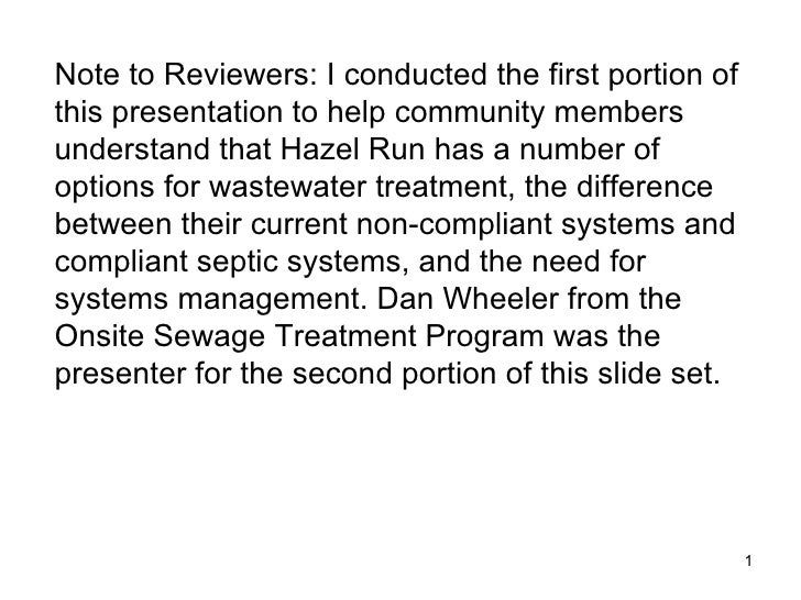 Hazel Run: Upgrading Your Wastewater Treatment: You Have Choices
