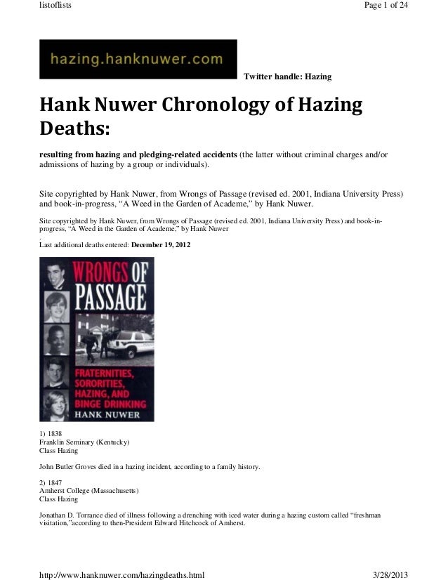 HAZING DEATHS - Hank Nuwer Chronology Report