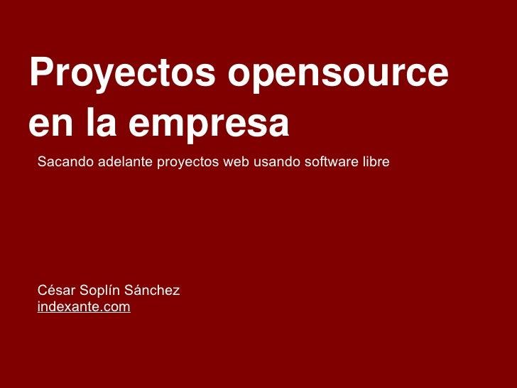 Proyectos opensource en la empresa