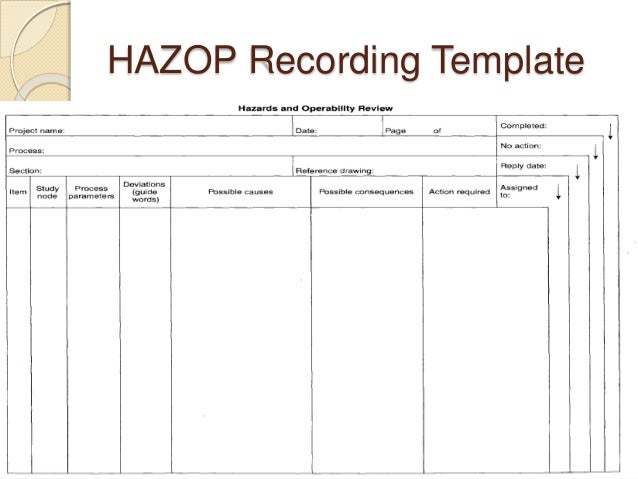 Standard deviation in excel for Hazop template xls