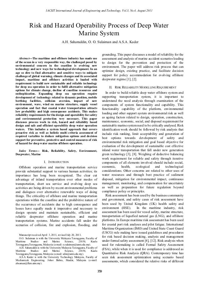 IACSIT International Journal of Engineering and Technology, Vol.3, No.4, August 2011            Risk and Hazard Operabilit...