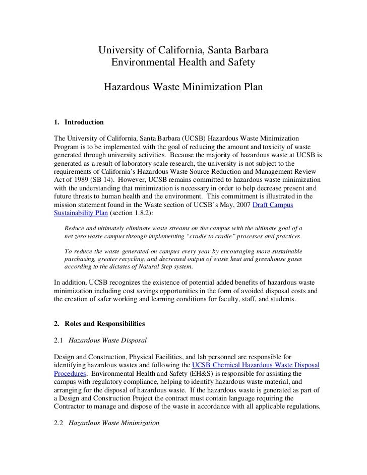 University of California, Santa Barbara                 Environmental Health and Safety                 Hazardous Waste Mi...