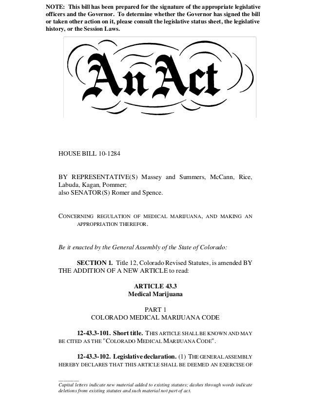 Colorado MMIP | House Bill 1284 - Medical Marijuana | HB1284CO