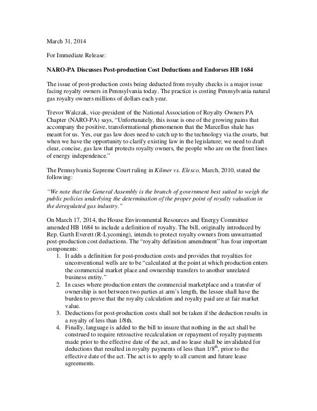 March 31, 2014 For Immediate Release: NARO-PA Discusses Post-production Cost Deductions and Endorses HB 1684 The issue of ...
