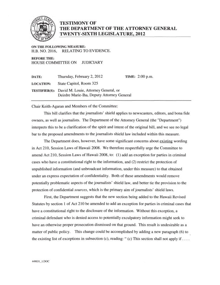 Hawaii Attorney General's Office 2012 testimony
