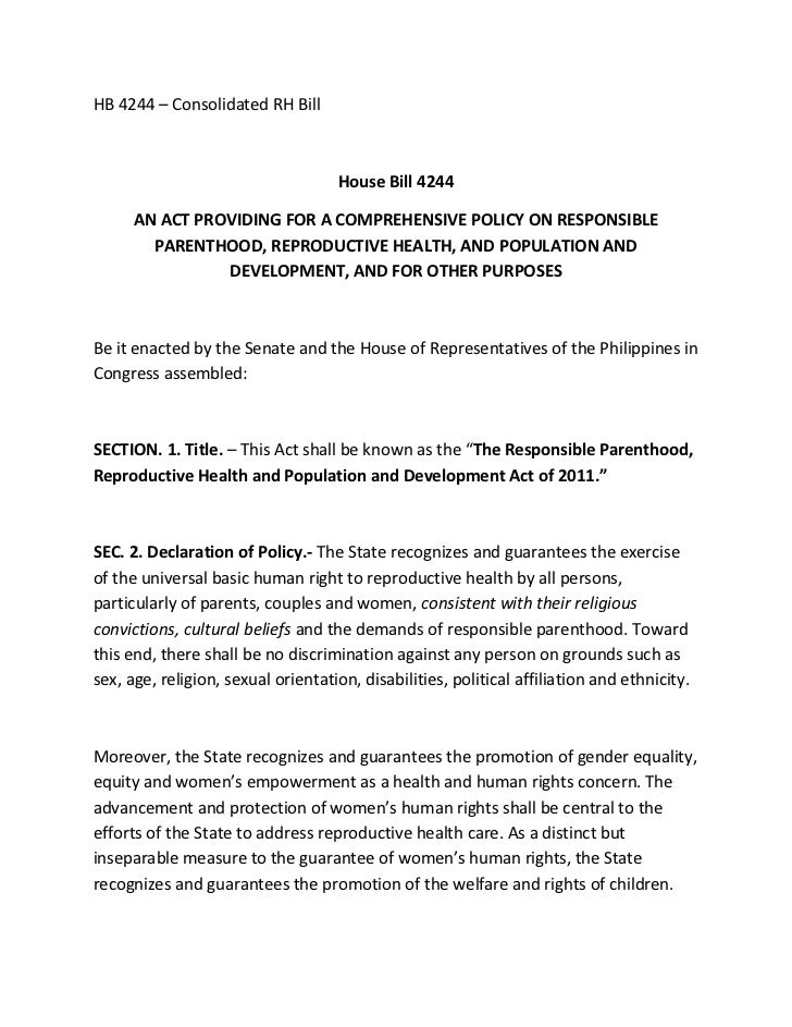 HB 4244 – Consolidated RH Bill                                    House Bill 4244      AN ACT PROVIDING FOR A COMPREHENSIV...