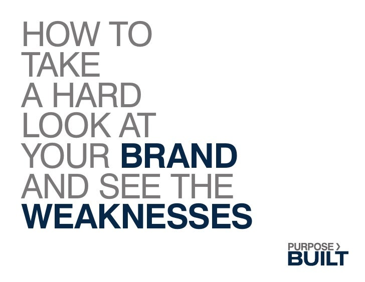 HOW TO TAKE A HARD LOOK AT YOUR BRAND AND SEE THE WEAKNESSES