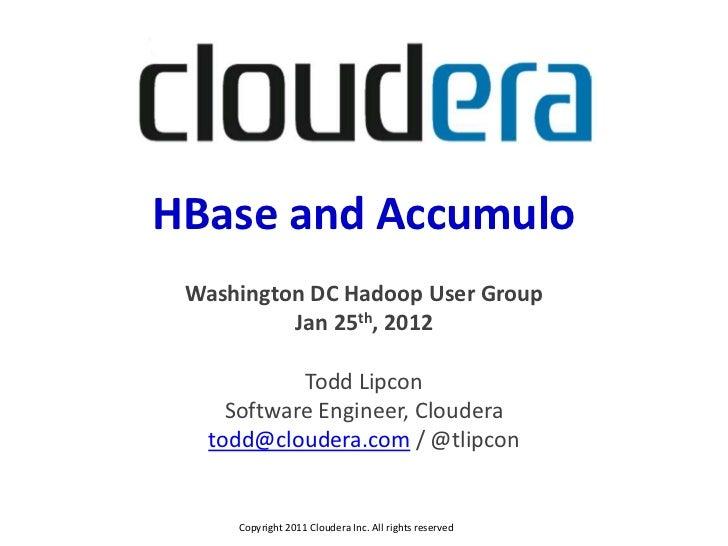 HBase and Accumulo | Washington DC Hadoop User Group