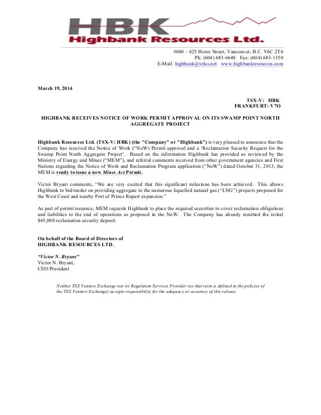 Receives Notice of Work Permit Approval on its Swamp Point North Aggregate Project