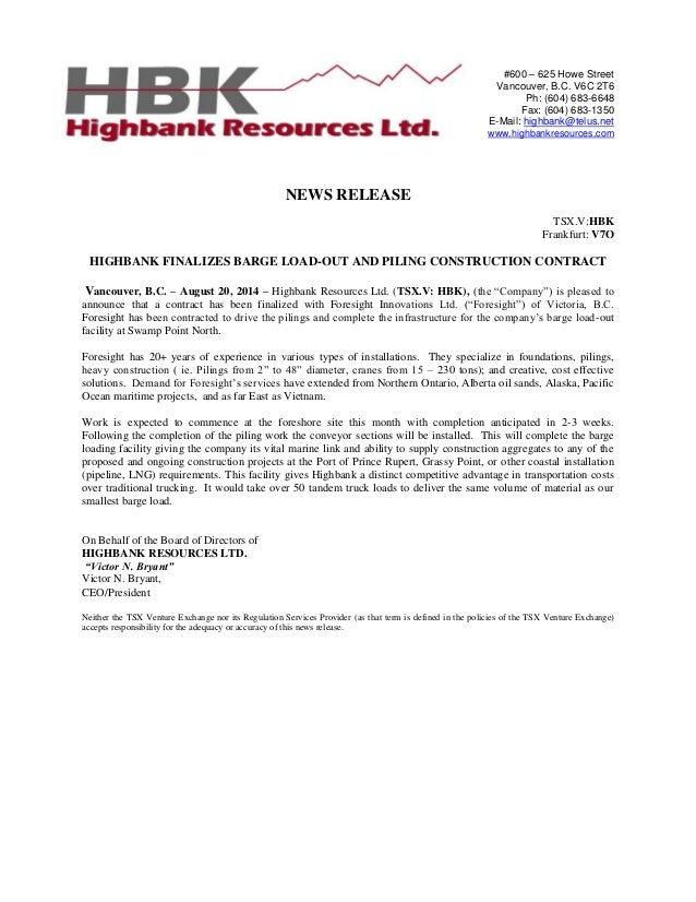 Hbk nr  aug.20. 14  finalizes barge load-out and piling contract  other