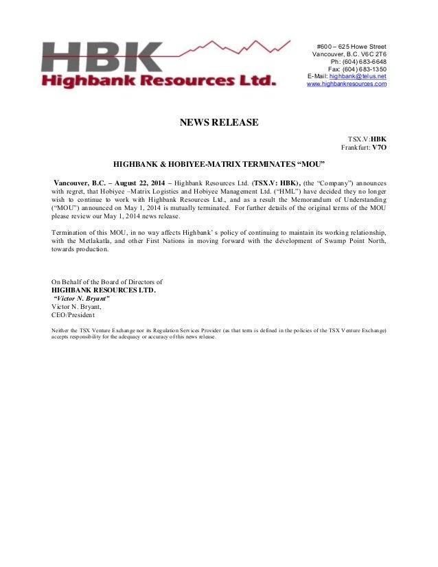 Highbank Terminates MOU with Hobiyee-Matrix