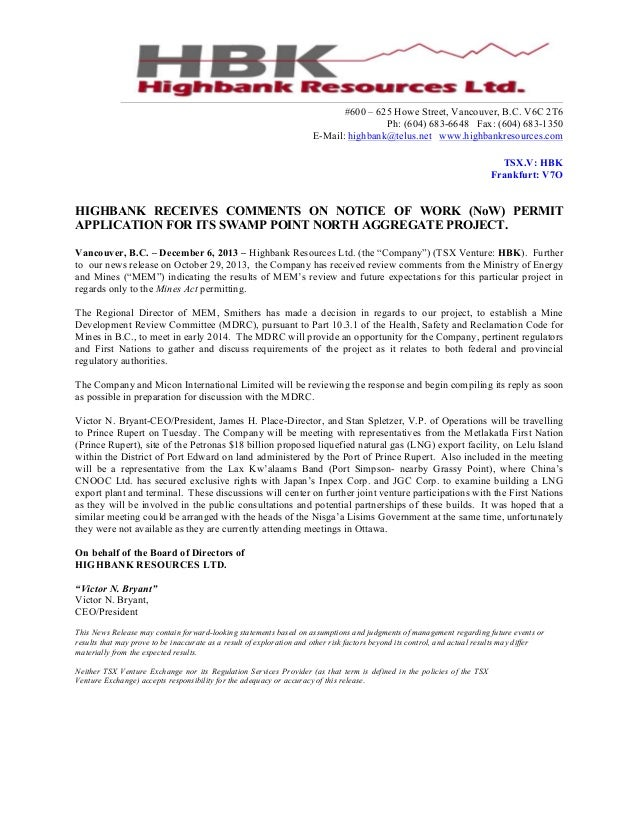 Highbank Resources - Highbank Receives Comments on Notice of Work (NoW) Permit Application For Its Swamp Point North Aggregate Project