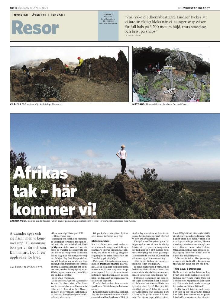 """Kilimanjaro: """"Afrikas tak - här kommer vi!"""" HBL 19.4.2009"""
