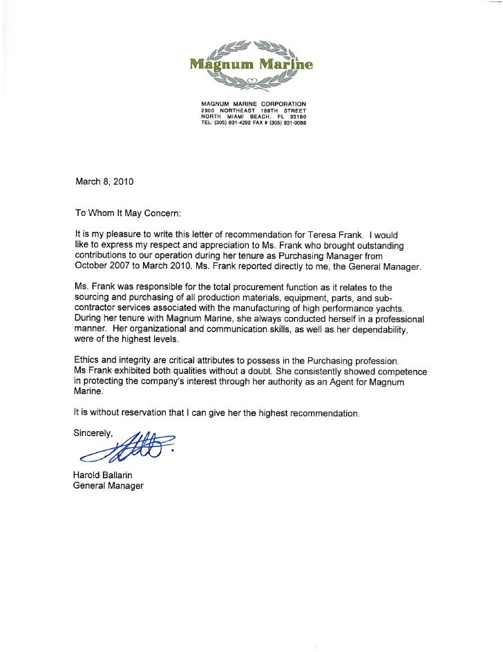 Letter Of Recommendation Magnum Marine Corporation