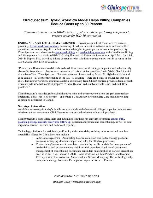 2222 Morris Ave. * 2nd Floor * NJ, 07083 (908)834-1608 * www.clinicspectrum.com ClinicSpectrum Hybrid Workflow Model Helps...